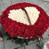 Корзина 301 роза, цветы в виде сердца R921